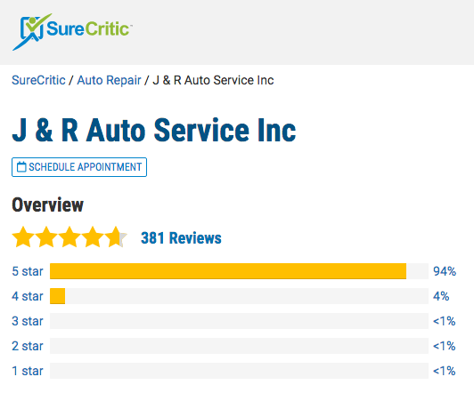 Review Overview of J&R Auto Service on SureCritic